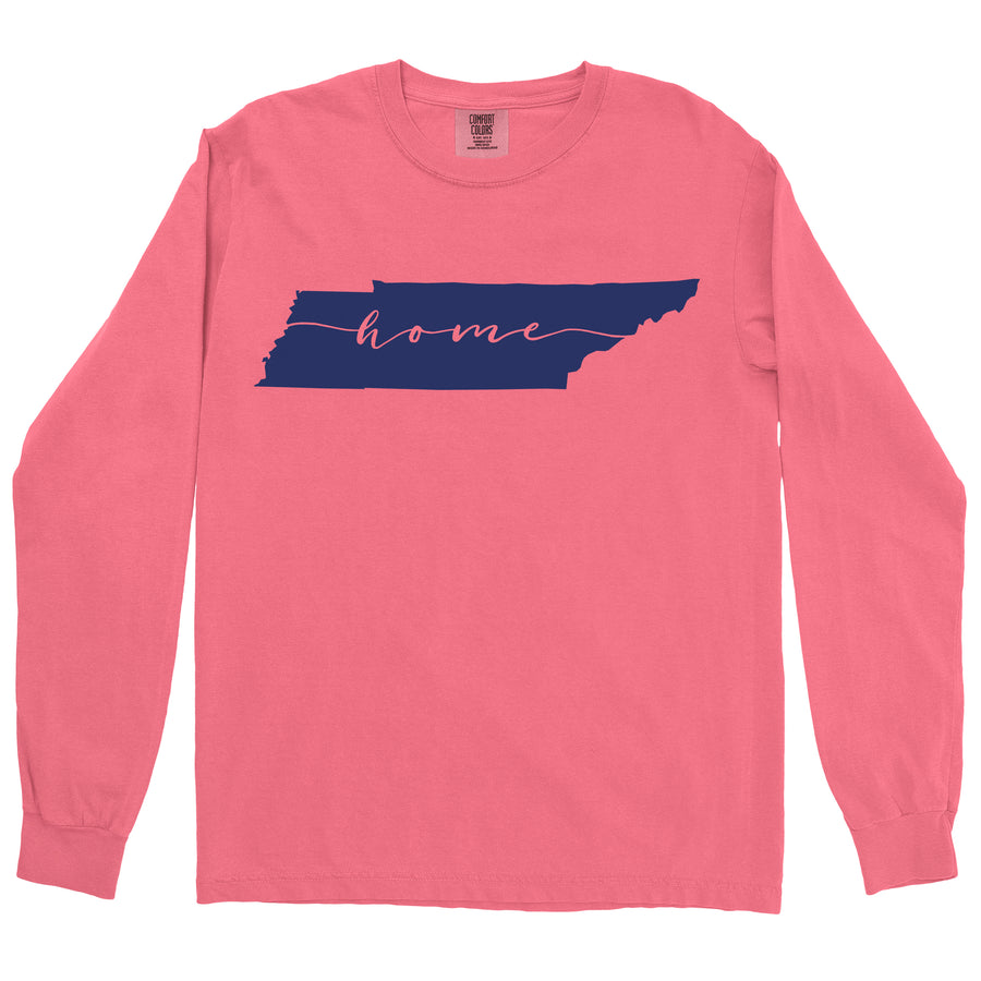 Clearance Adult Tennessee Home on a Long Sleeve Watermelon T-Shirt