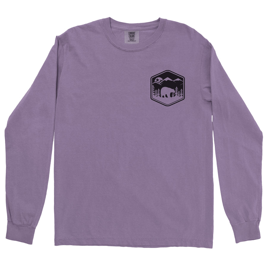 Clearance Adult Smokies Black Bear on a Long Sleeve Violet T-Shirt