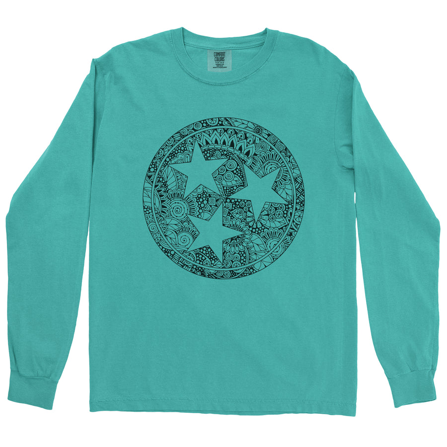Clearance Adult Floral Tri-Star on a Long Sleeve Sea Foam T-Shirt