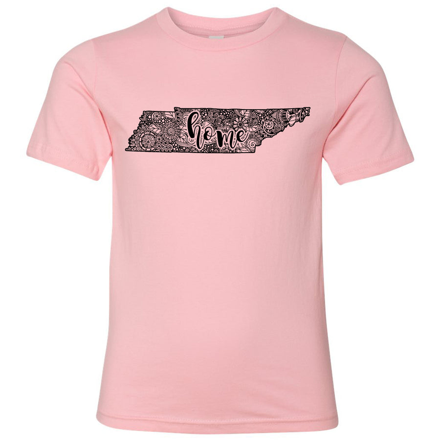 Kids Tennessee Home Floral on a Light Pink T-Shirt