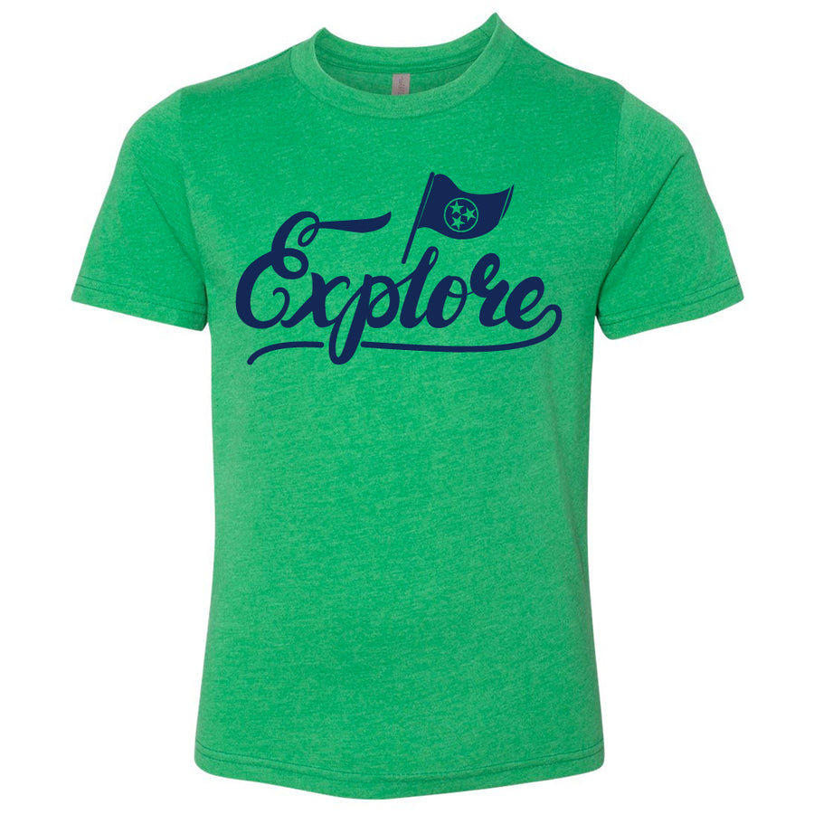 Kids Explore Tennessee Flag on a Kelly Green T-Shirt