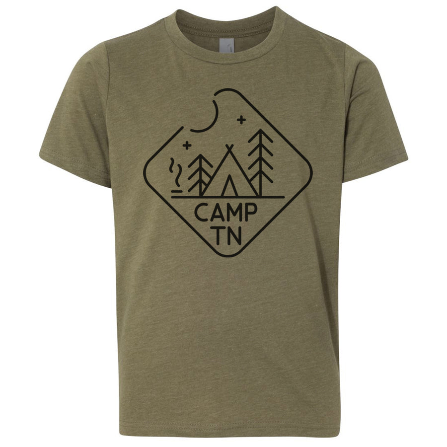 Kids Camp TN on a Military Green T-Shirt