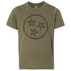 Kids Tri Star Outline on a Military Green T-Shirt