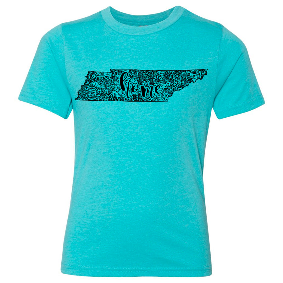 Kids Tennessee Home Floral on a Tahiti Blue T-Shirt