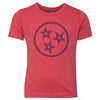 Kids Tri Star Outline on a Vintage Red T-Shirt