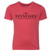 Kids Tennessee Est. 1796 on a Vintage Red T-Shirt
