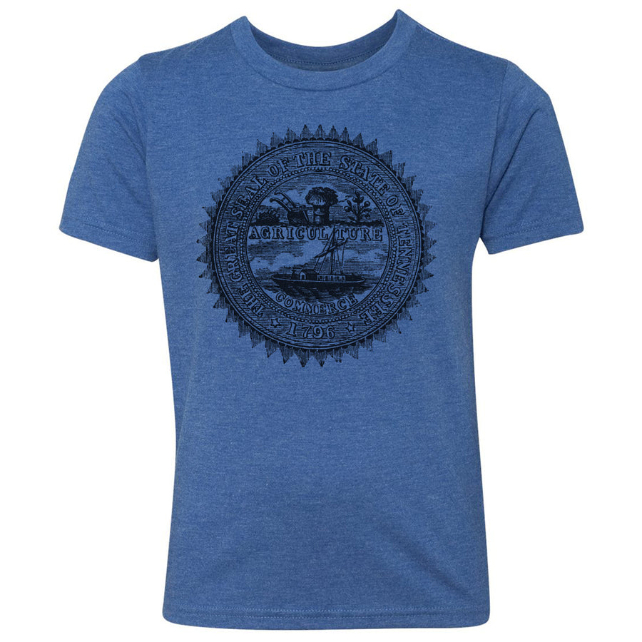 Kids Tennessee Agriculture Seal on a Vintage Royal T-Shirt