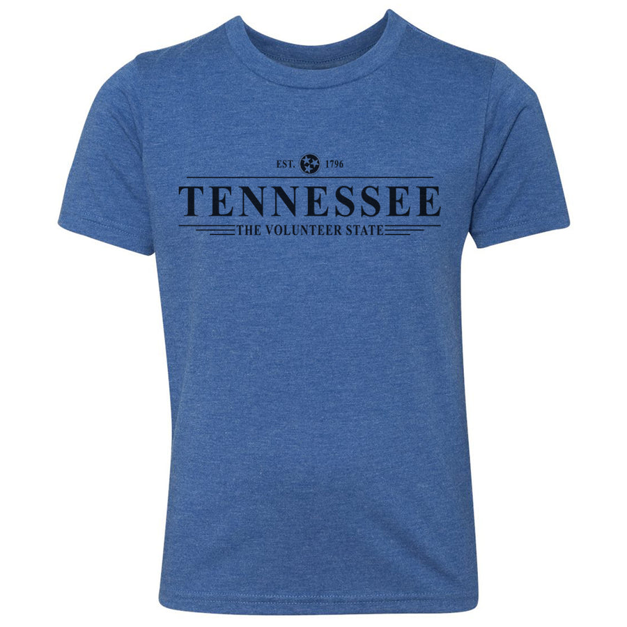 Kids Tennessee Est. 1796 on a Vintage Royal T-Shirt