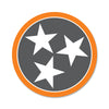 Orange/Grey Tri Star 3 Inch Decal