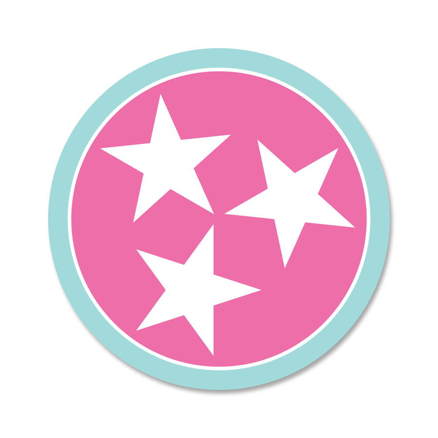 Pink/Light Blue Tri Star 3 Inch Decal