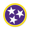 Purple/Yellow Tri Star 3 Inch Decal