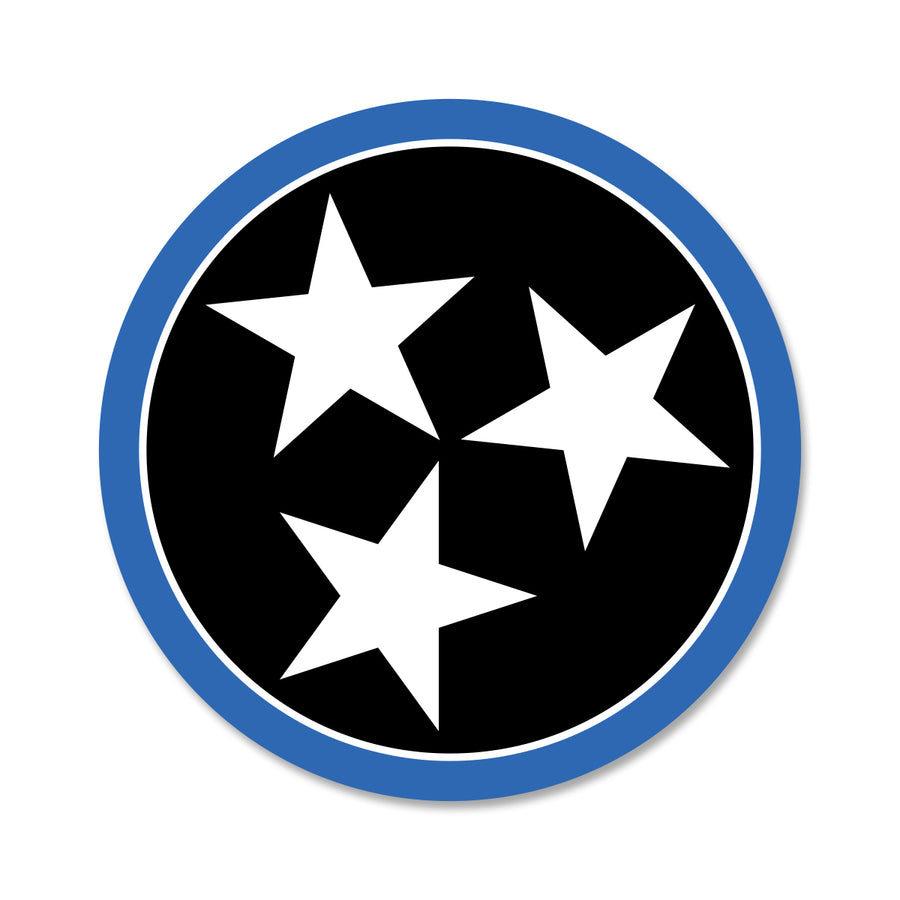 Black/Blue Tri Star 3 Inch Decal