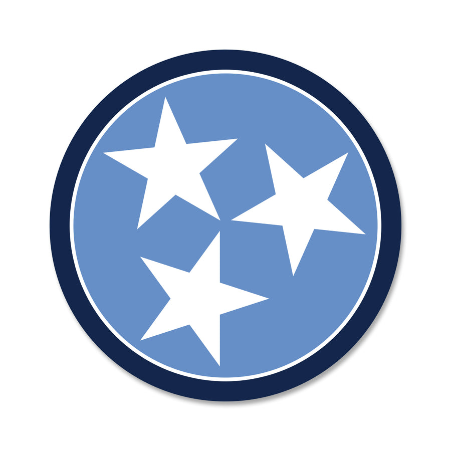 Light Blue/Navy Tri Star 3 Inch Decal