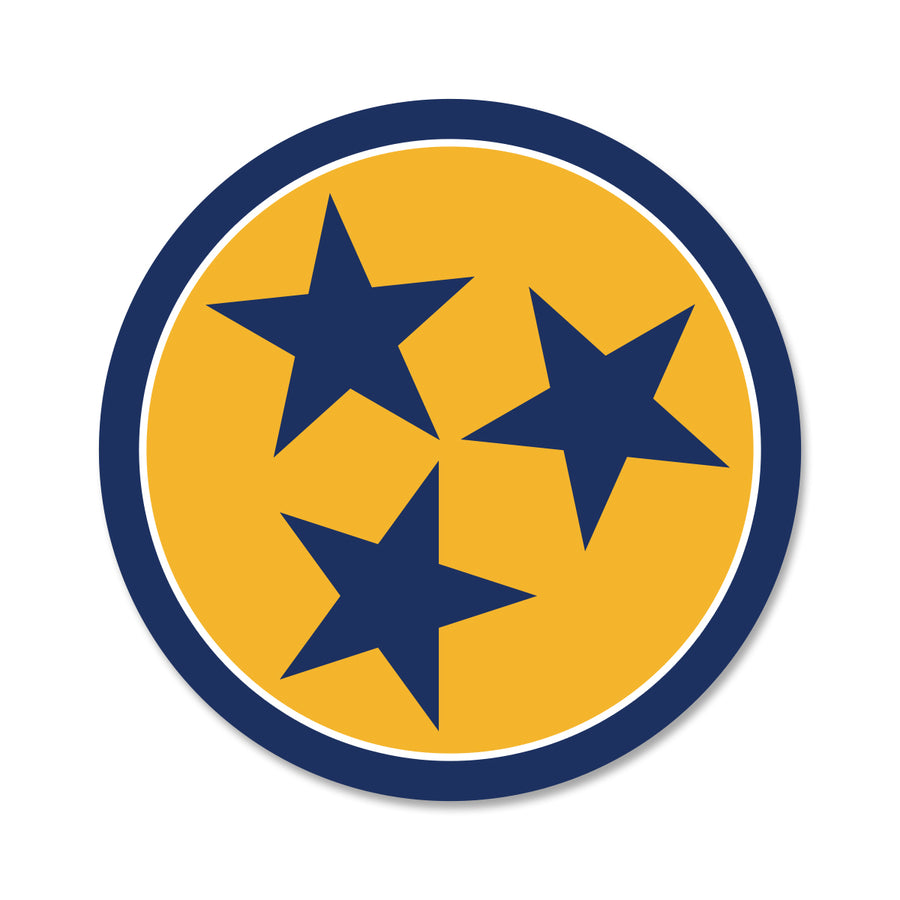 Yellow/Navy Tri Star 3 Inch Decal