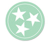 Mint/White Tri Star 3 Inch Decal