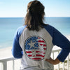 Adult USA Flag Tri Star on a Royal Blue Sleeve Raglan