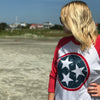 Adult Blue & Red Tri Star on a Red/Heather White Raglan