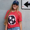 Adult Distressed Navy Tri Star on a Red T-Shirt