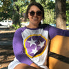 Adult Purple & Gold Tri Star on a Purple Sleeve Raglan