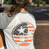 Adult Orange American Flag Tri Star Grey Sleeve Raglan