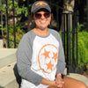 Adult Orange Hollow Tri Star on a Grey Sleeve Raglan
