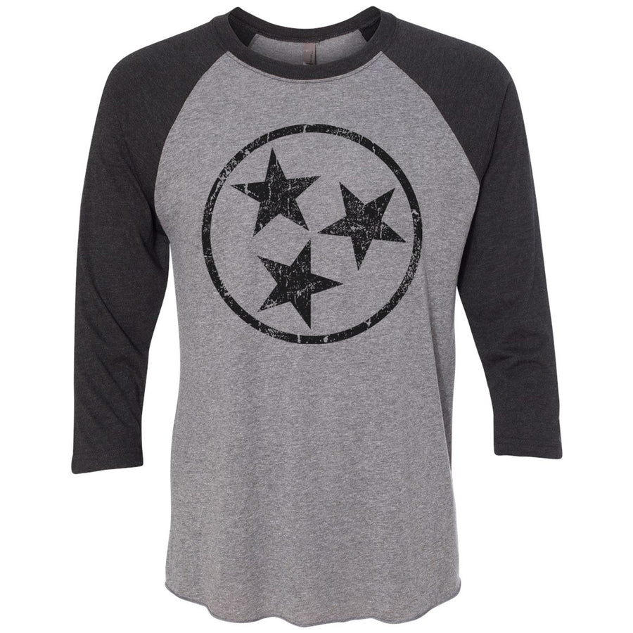 Adult Black Hollow Tri Star on a Black Sleeve Raglan