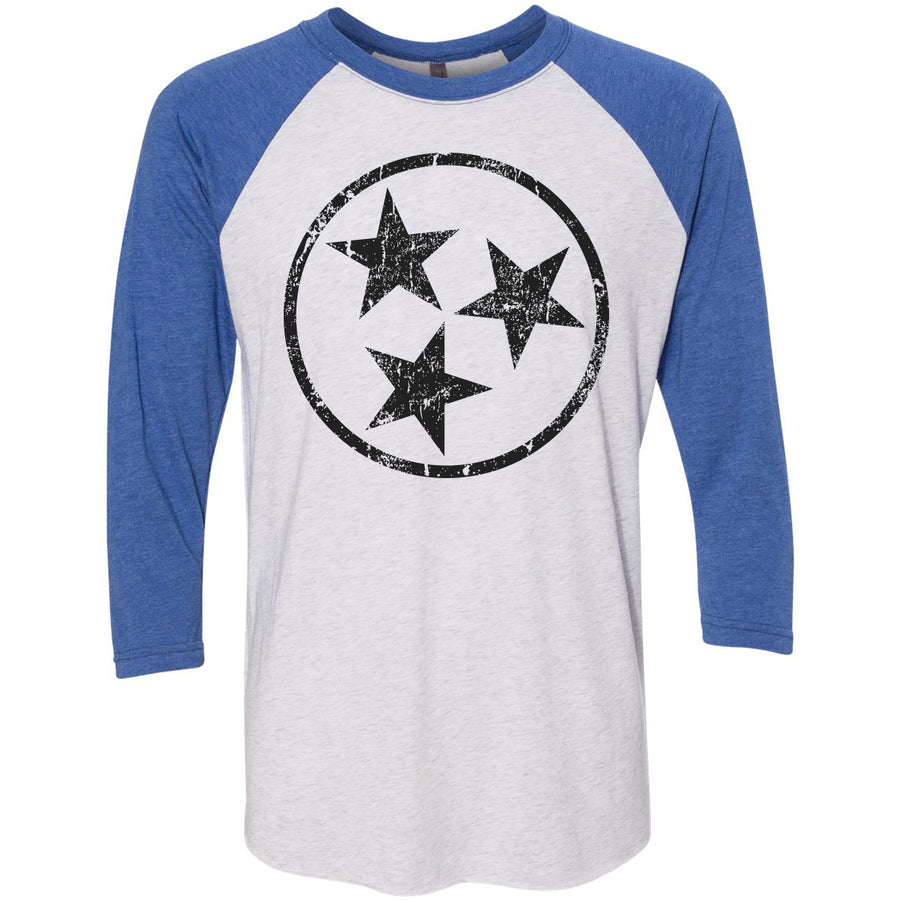 Adult Black Hollow Tri Star on a Vintage Royal Sleeve Raglan