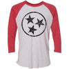 Adult Black Hollow Tri Star on a Vintage Red Sleeve Raglan