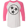 Adult Black Hollow Tri Star on a Vintage Pink Sleeve Raglan