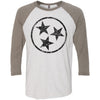 Adult Black Hollow Tri Star on a Venetian Gray Sleeve Raglan