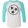 Adult Black Hollow Tri Star on a Tahiti Blue Sleeve Raglan