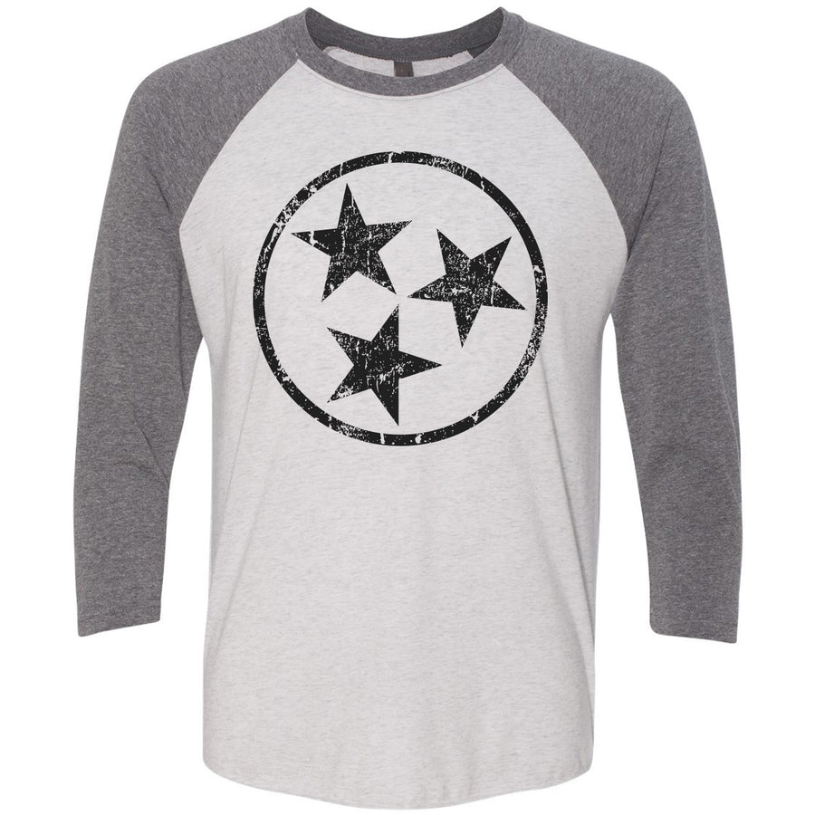 Adult Black Hollow Tri Star on a Premium Heather Sleeve Raglan