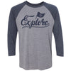 Adult Explore Tennessee Flag on a Navy Sleeve Raglan