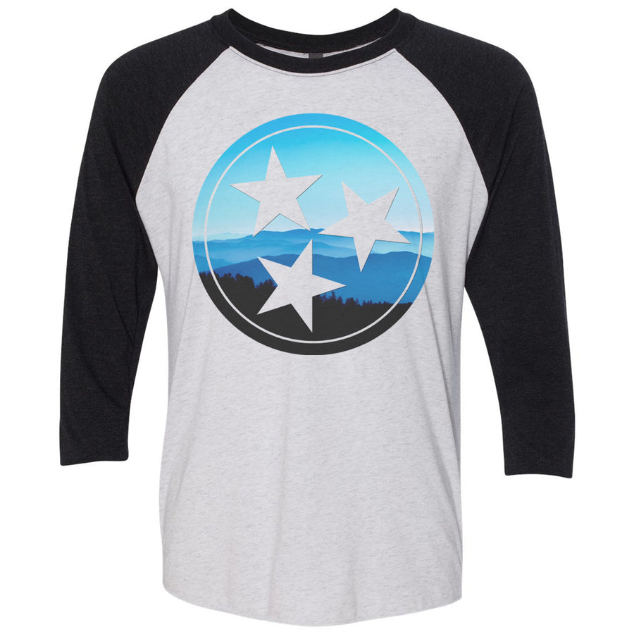 Adult Great Smoky Mountains Tri Star on a Black Sleeve Raglan