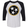 Adult Distressed Black & Gold Tri Star on a Black Sleeve Raglan