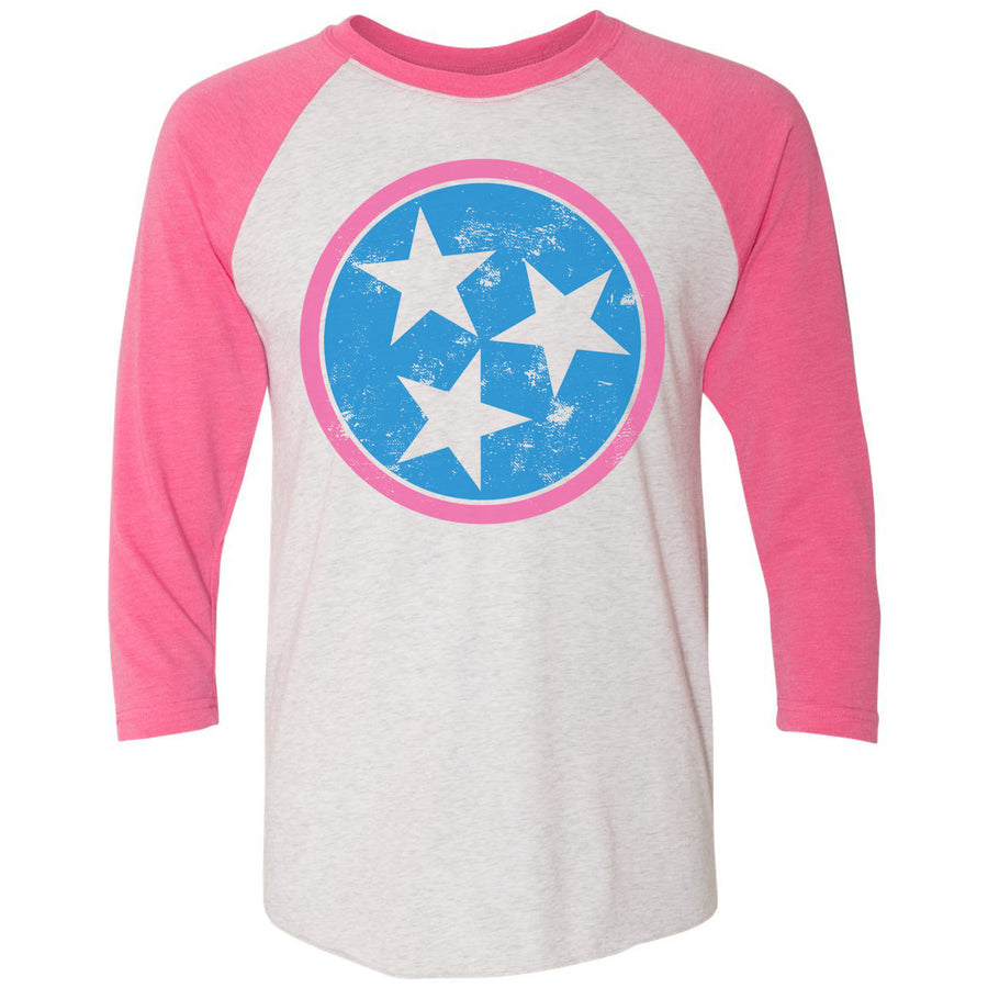 Adult Distressed Blue Tri Star on a Pink Sleeve Raglan