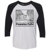 Adult Cummins Falls on a Black Sleeve Raglan