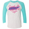 Adult Sweet As Soda Pop on a Tahiti Blue Sleeve Raglan