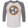 Adult Grey & Orange Tri Star on a Premium Heather Sleeve Raglan