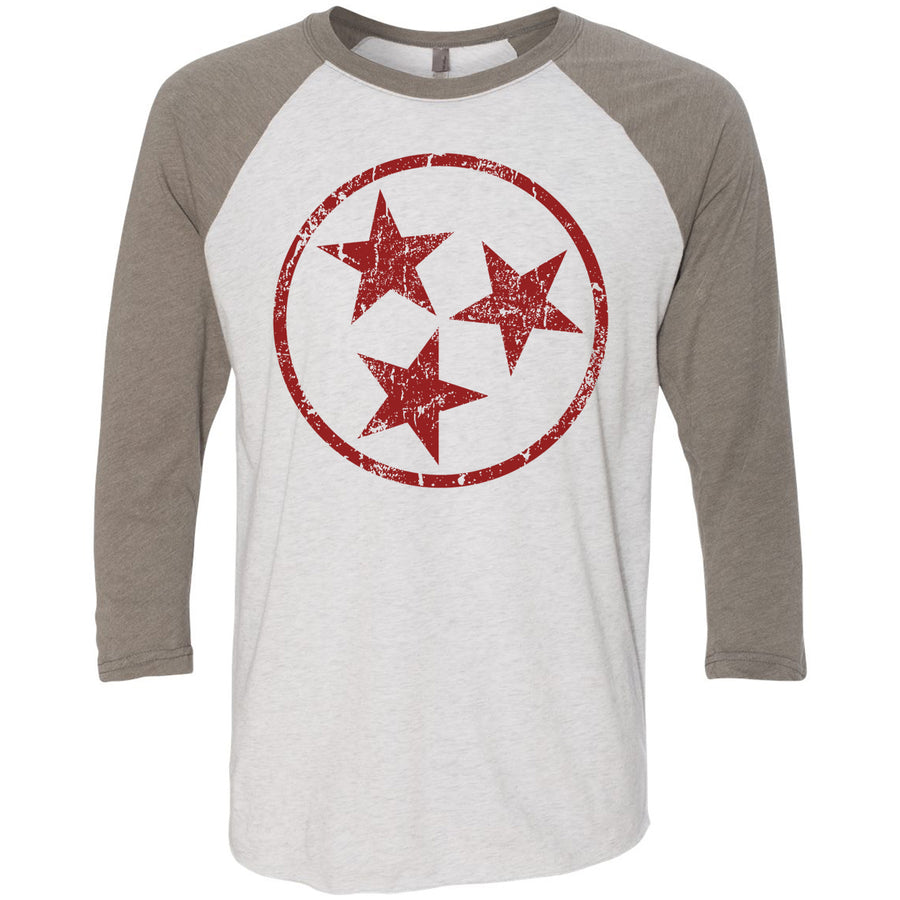 Adult Maroon Hollow Tri Star on a Venetian Gray Sleeve Raglan