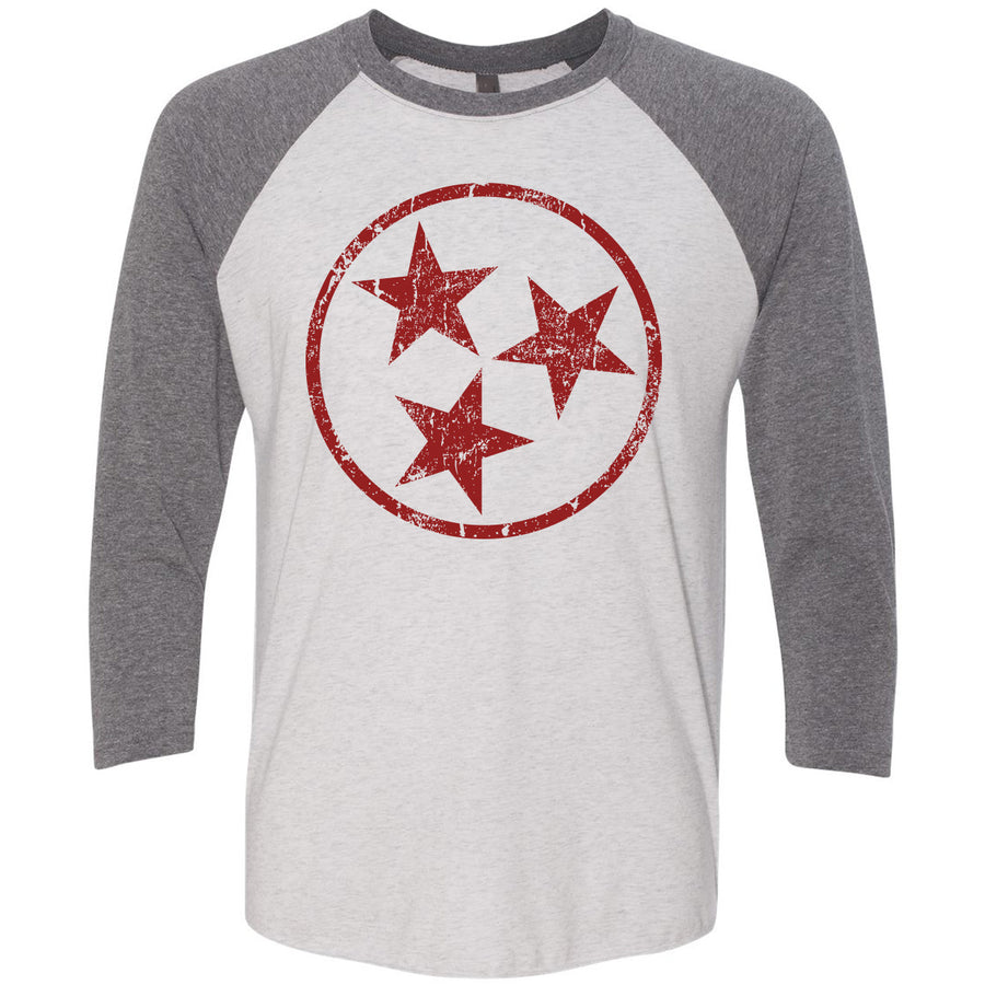 Adult Maroon Hollow Tri Star on a Premium Heather Sleeve Raglan