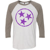 Adult Purple Hollow Tri Star on a Venetian Gray Sleeve Raglan