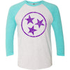 Adult Purple Hollow Tri Star on a Tahiti Blue Sleeve Raglan