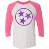 Adult Purple Hollow Tri Star on a Vintage Pink Sleeve Raglan