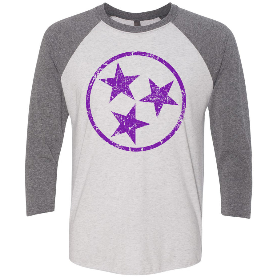 Adult Purple Hollow Tri Star on a Premium Heather Sleeve Raglan
