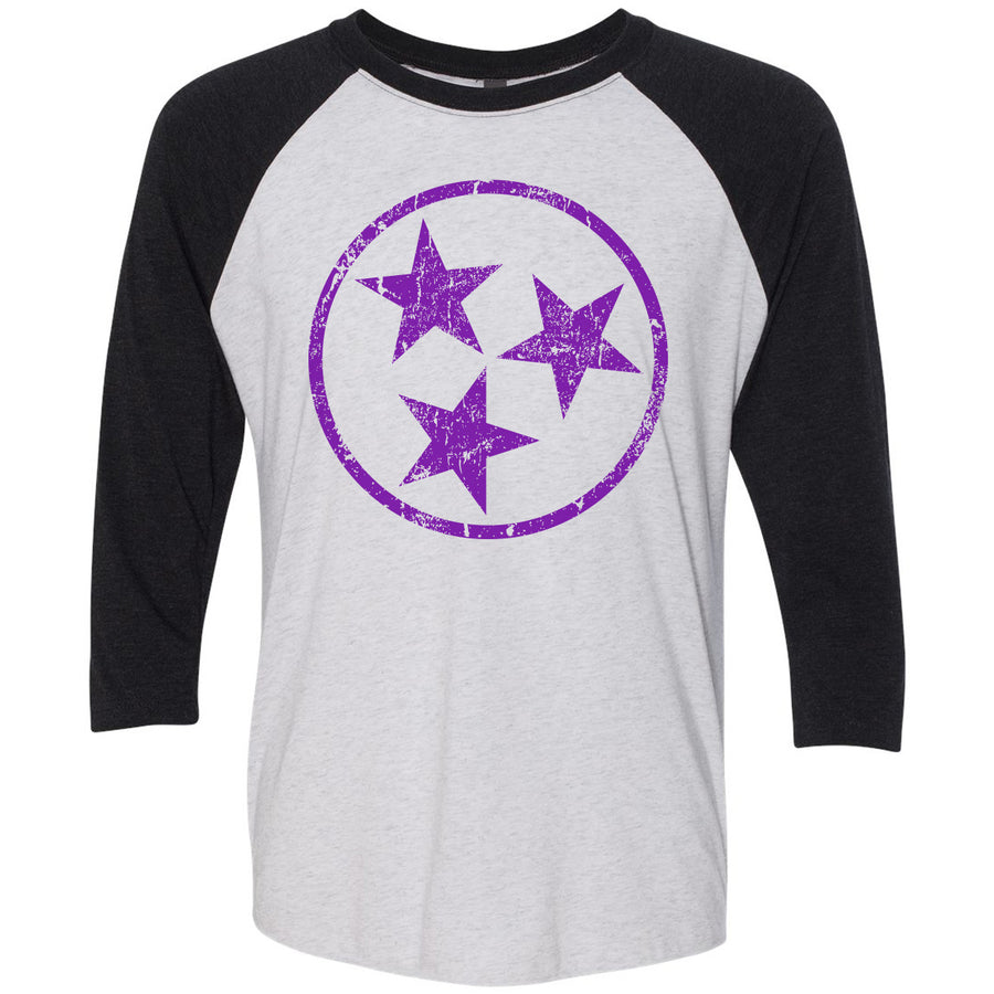 Adult Purple Hollow Tri Star on a Black Sleeve Raglan