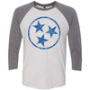 Adult Royal Blue Hollow Tri Star on a Premium Heather Sleeve Raglan