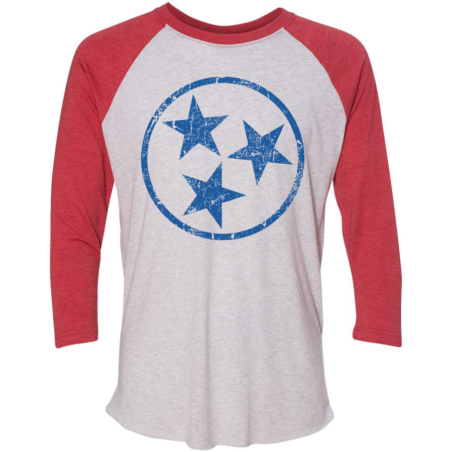 Adult Royal Blue Hollow Tri Star on a Vintage Red Sleeve Raglan