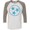 Adult Cobalt Blue Hollow Tri Star on a Venetian Gray Sleeve Raglan