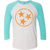 Adult Orange Hollow Tri Star on a Tahiti Blue Sleeve Raglan
